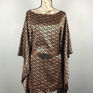 Anthro Lapis Black With Gold Dots Poncho Top